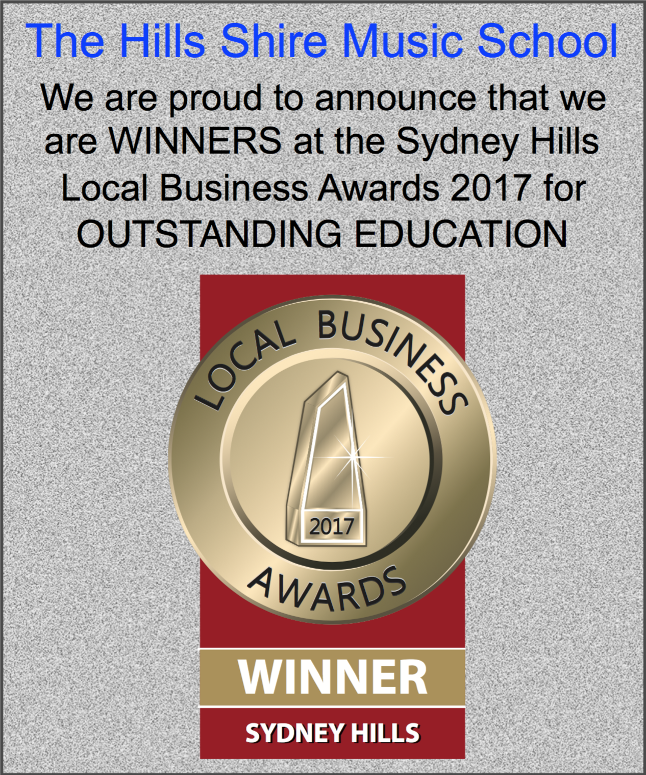 Local Business Awards Winner, 2017